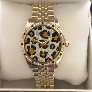 Gorgeous Couture Leopard Rhinestone Gold Watch